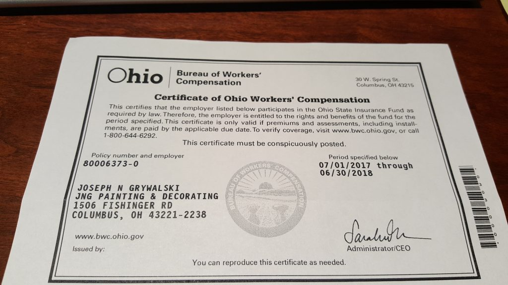 Certificate Of Ohio Workers' Compensation